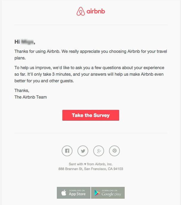 Airbnb просит клиентов принять участие в коротком опросе относительно их пользовательского опыта и уровня удовлетворенности.