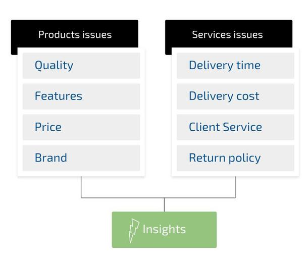 Используя подобный набор вопросов о проблемах с продуктами (Products issues) — качество, характеристики, цена, торговая марка — и затруднениях с обслуживанием (Services issues) — срок доставки, стоимость доставки, обслуживание клиента, условия возврата, — вы сможете получить сведения (Insights) о каждой RFM-группе.