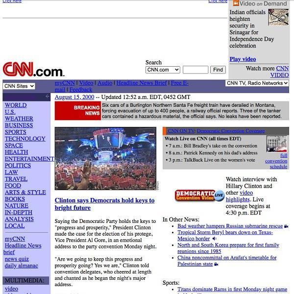 Пример Web 1.0 — домашняя страница The New York Times (2000 год)
