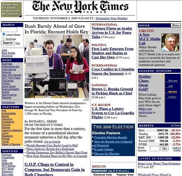 Пример Web 1.0 — домашняя страница CNN (2000 год)