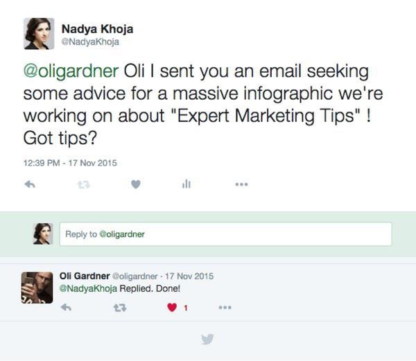 Оли, я отправляла тебе на почту письмо с просьбой поделиться небольшой профессиональной хитростью или советом, который мы затем включим в инфографику «Советы от экспертов маркетинга». Получил его?