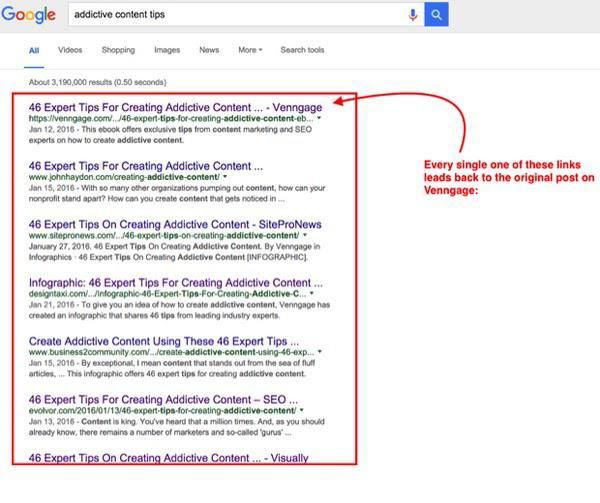 Каждый из результатов поисковой выдачи по запросу «addictive content tips» (советы по контенту, к которым легко привыкнуть) ведет на оригинал поста