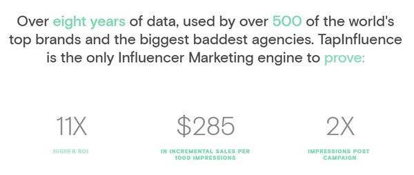 8-летний архив данных, более 500 клиентов, в числе которых крупнейшие бренды и агентства. TapInfluence — один из немногих сервисов в сфере маркетинга влияния, который гарантированно увеличит ваш ROI в 11 раз, поможет зарабатывать на $285 больше с каждой тысячи показов, удвоит число показов после проведения кампании