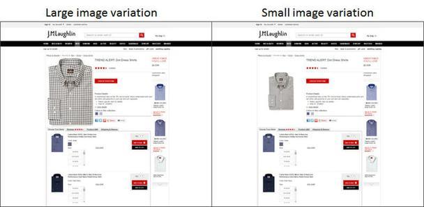 Исследование показало, что люди считали рубашку менее ценной и были готовы платить на 1 доллар меньше, когда изображение рубашки было большим.