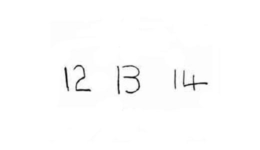 12, 13, 14.