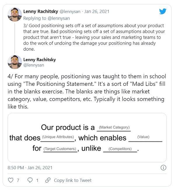 Эксперт по позиционированию в сфере B2B, Эйприл Данфорд (April Dunford), поделилась серией твитов Ленни Рачитски (Lenny Rachitsky)
