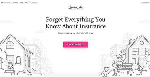 Домашняя страница Lemonade «Забудьте все, что вы знали о страховании»