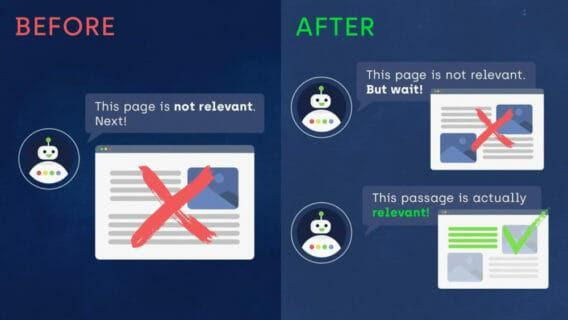 Прежде (Before): «Эта страница нерелевантна. Следующую!». После (After): «Эта страница нерелевантна. Но подождите! Этот фрагмент на самом деле релевантен!»