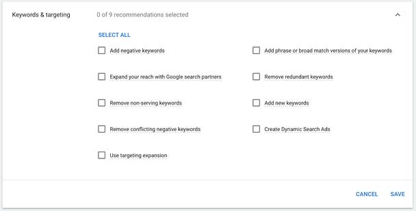Google предлагает 9 рекомендаций по ключевым словам и таргетингу, которые могут быть приняты автоматически