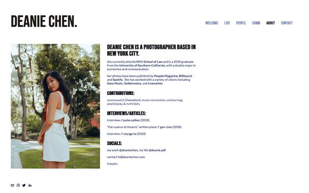 Сайт фотографа Deanie Chen
