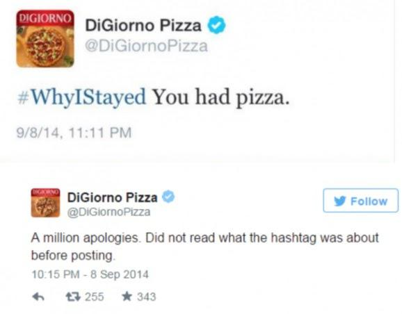 #WhyIStayed — У вас была пицца. Приносим свои извинения. Мы не проверили хэштег, прежде чем сделать эту публикацию.