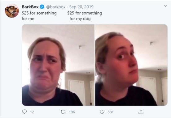 Слева: Потратить $25 на что-то для себя Справа: Потратить $25 на что-то для моей собаки