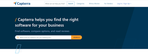 Capterra ― сервис предоставляет информацию об обзорах и рецензиях на другие сайты и приложения, которые могут потребоваться для бизнеса.
