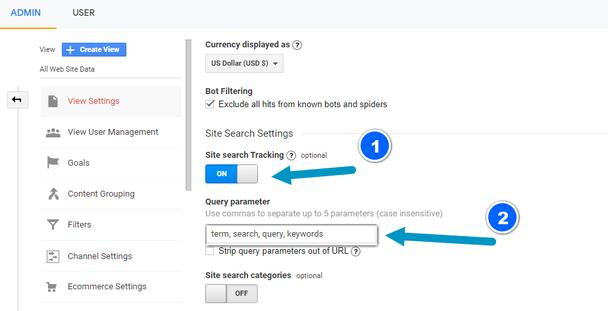 В разделе Настройки поиска по сайту (Site Search Tracking) установите переключатель в положение Вкл (ON) (1), затем введите в окно параметр категории для поиска по категориям.