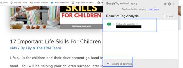 Google Tag Assistant сообщит, где требуется оптимизация (Where to Optimize).