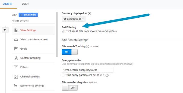 Включите Фильтрацию ботов (Bot Filtering), которая будет отфильтровывать ботов и поисковых «пауков» из Отчетов (Reporting)